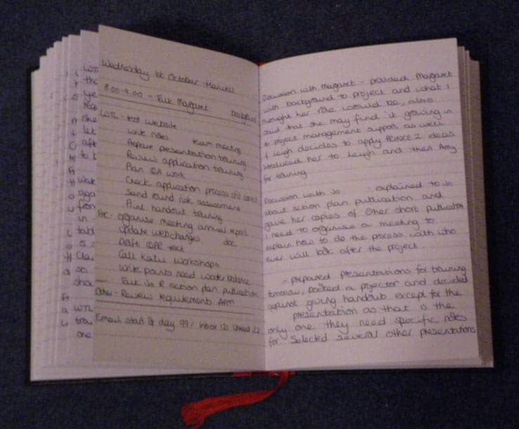 Example page in my second log book