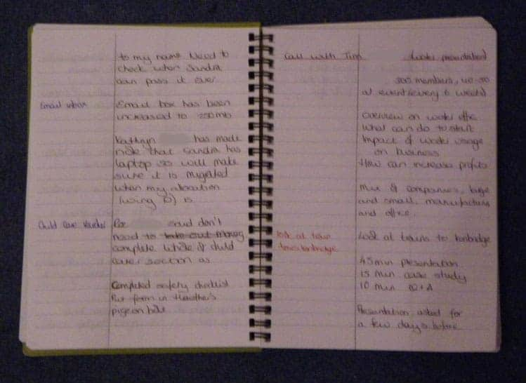 Example page in my third log book
