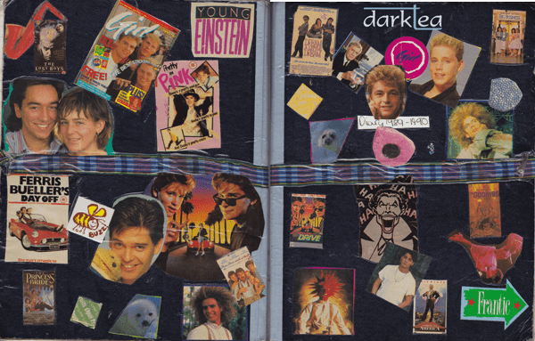 Cover of a girl's diary fro 1989 featuring magazine cuttings