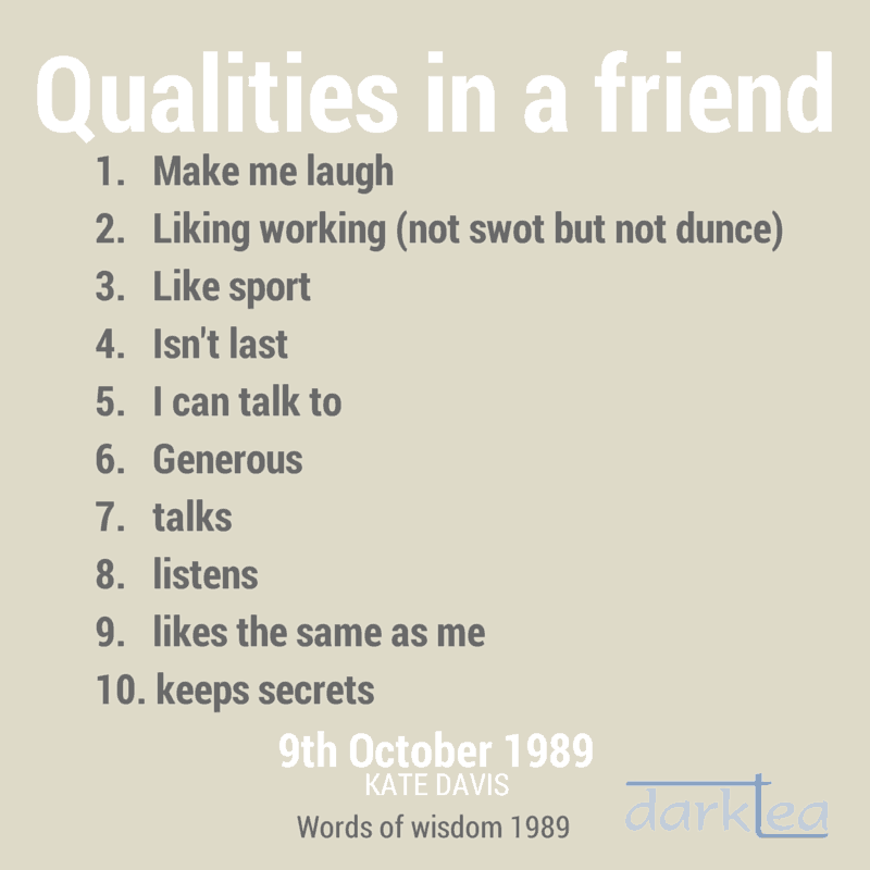 List of good qualities to have in a friend